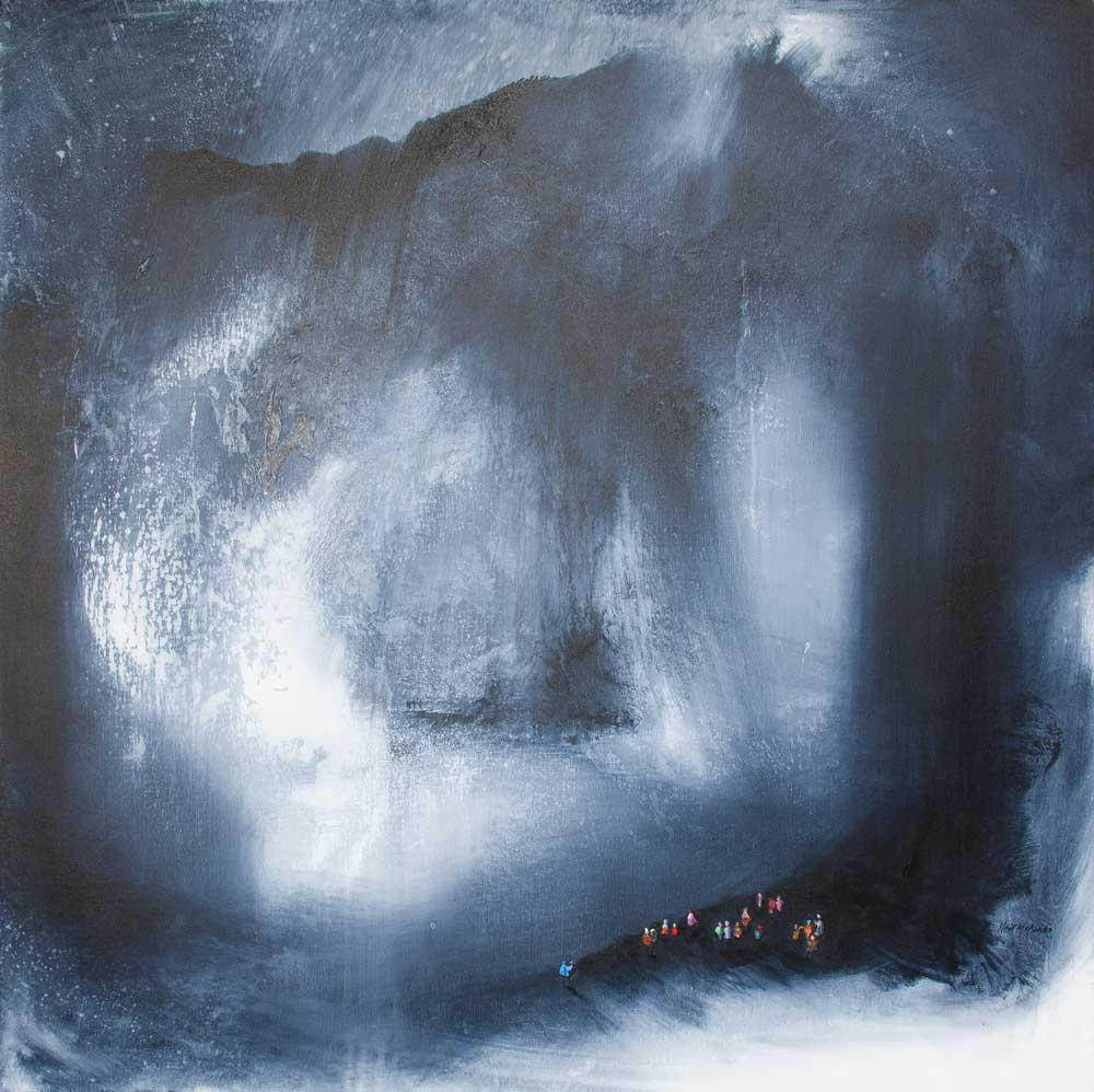 Mountain Rescue is an original grey landscape painting on canvas in the sublime genre © Neil McBride 2020
