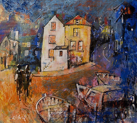 Robin Hood's Bay Evening, mixed media painting