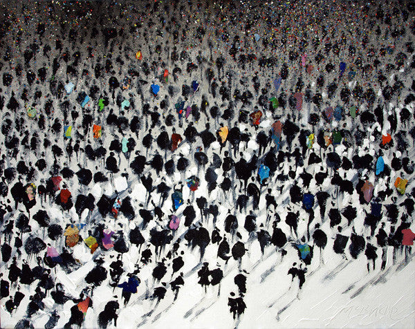 Rush Hour of people- Limited Edition Art Prints of city life for sale by British painter Neil McBride