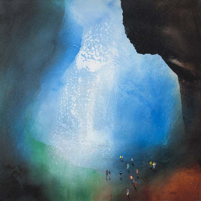 Cave trekking - Seeking Emerald - Original artwork on canvas - Neil McBride Art