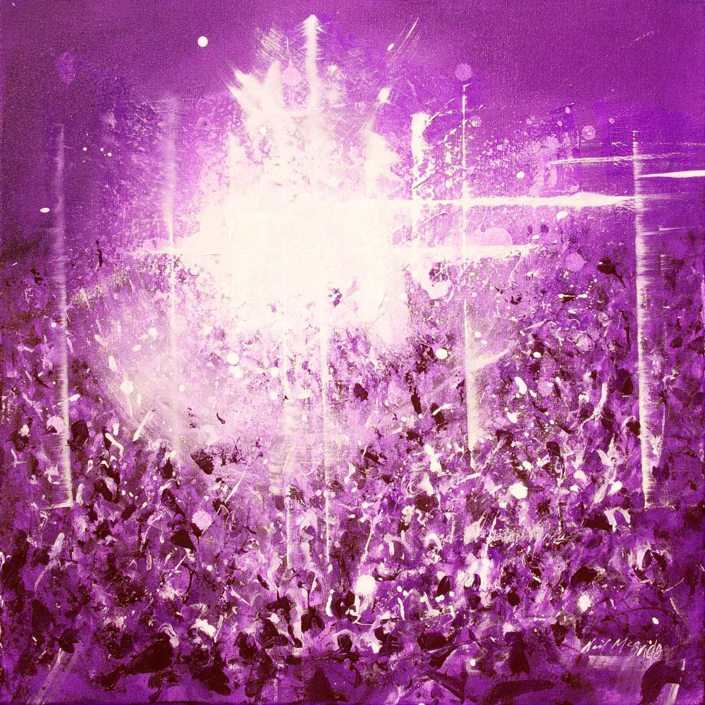 Violet Vibe, original painting of crowds of fans at a music gig - Neil McBride Art