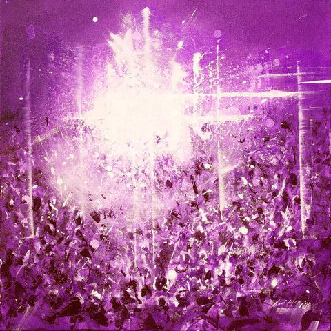Violet Vibe, original painting of crowds of fans at a music gig