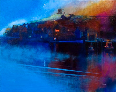 Whitby Moon and Mist original painting