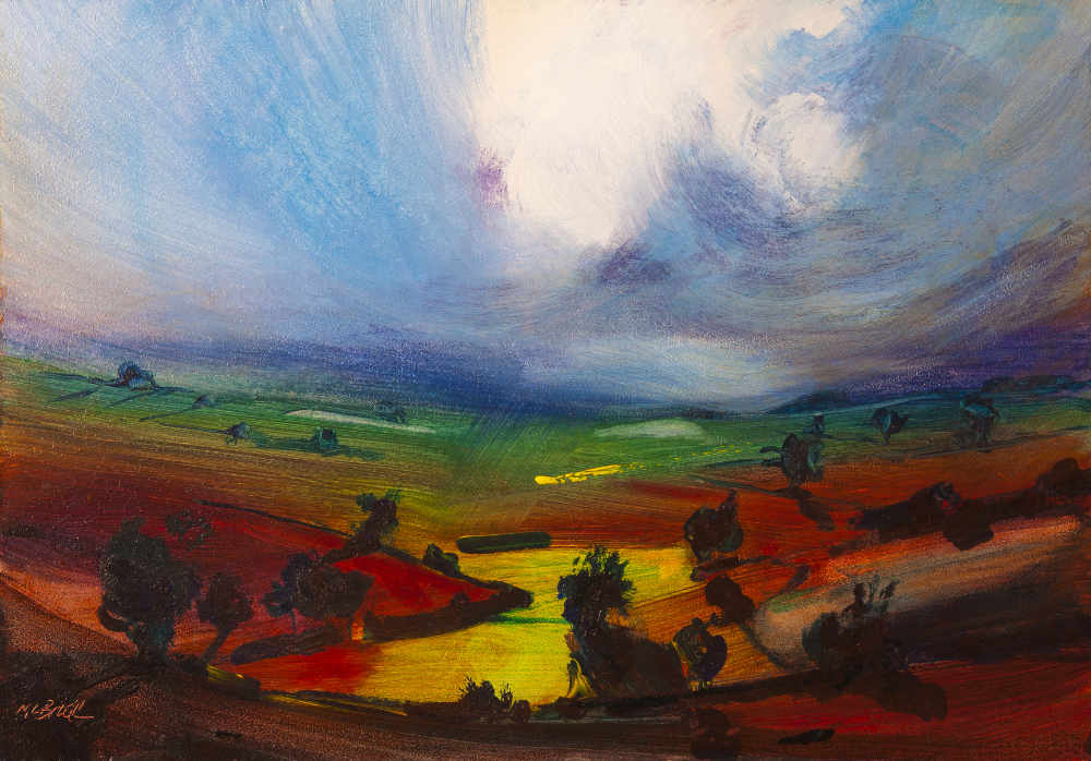 Awesome painting of dramatic light in a cloudy sky and fields of rich colours © Neil McBride 2019