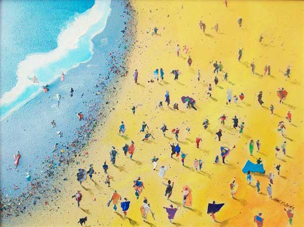 Beachcombing, Limited Edition Art Print of a crowd of people on the beach by Yorkshire Landscape by Neil McBride