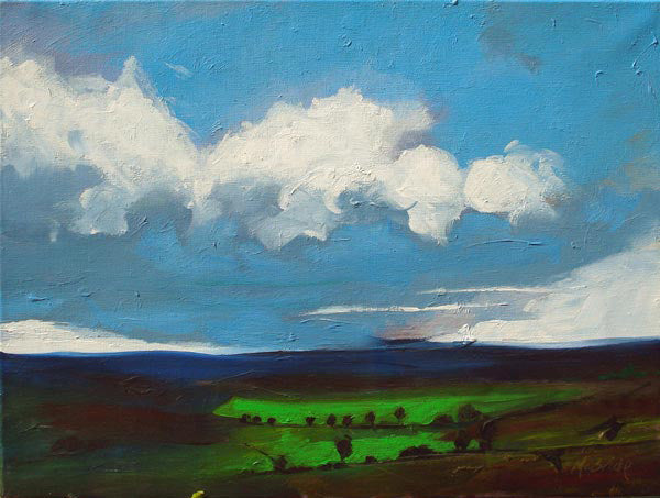 Yorkshire landscape painting on canvas of the North York Moors titled Changes. © Neil McBride 2019