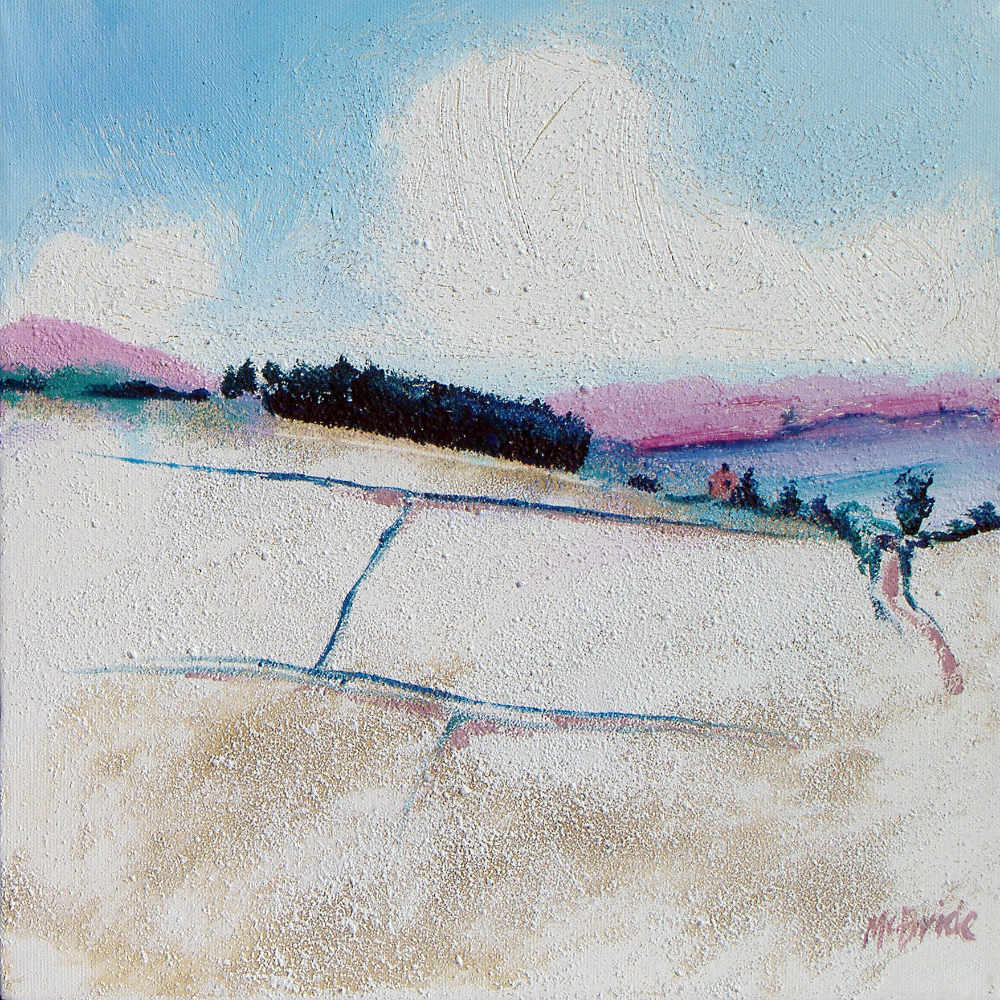 Winter landscape painting titled Copse in Snow © Neil McBride 2019