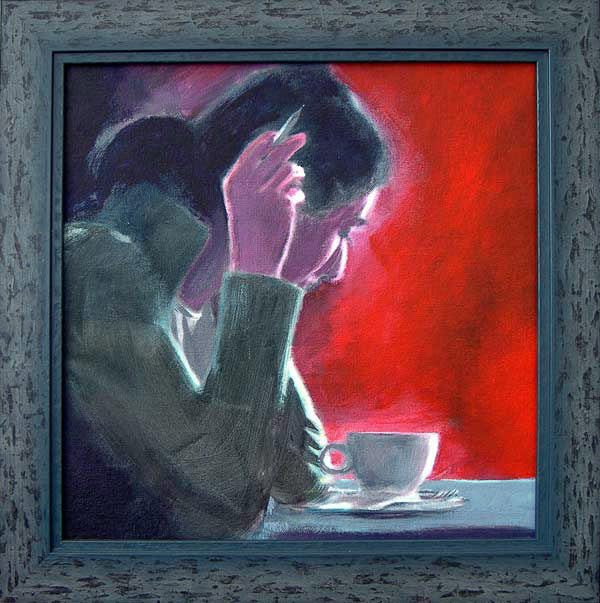 Coffee Break Crossword original painting of woman doing a crossword. © Neil McBride 2019