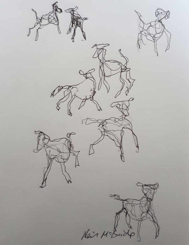 Eight Dog Pack - original drawing