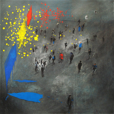 Exhibitionist art is an original painting of people and pyrotechnic paintings in an art gallery © Neil McBride 2020