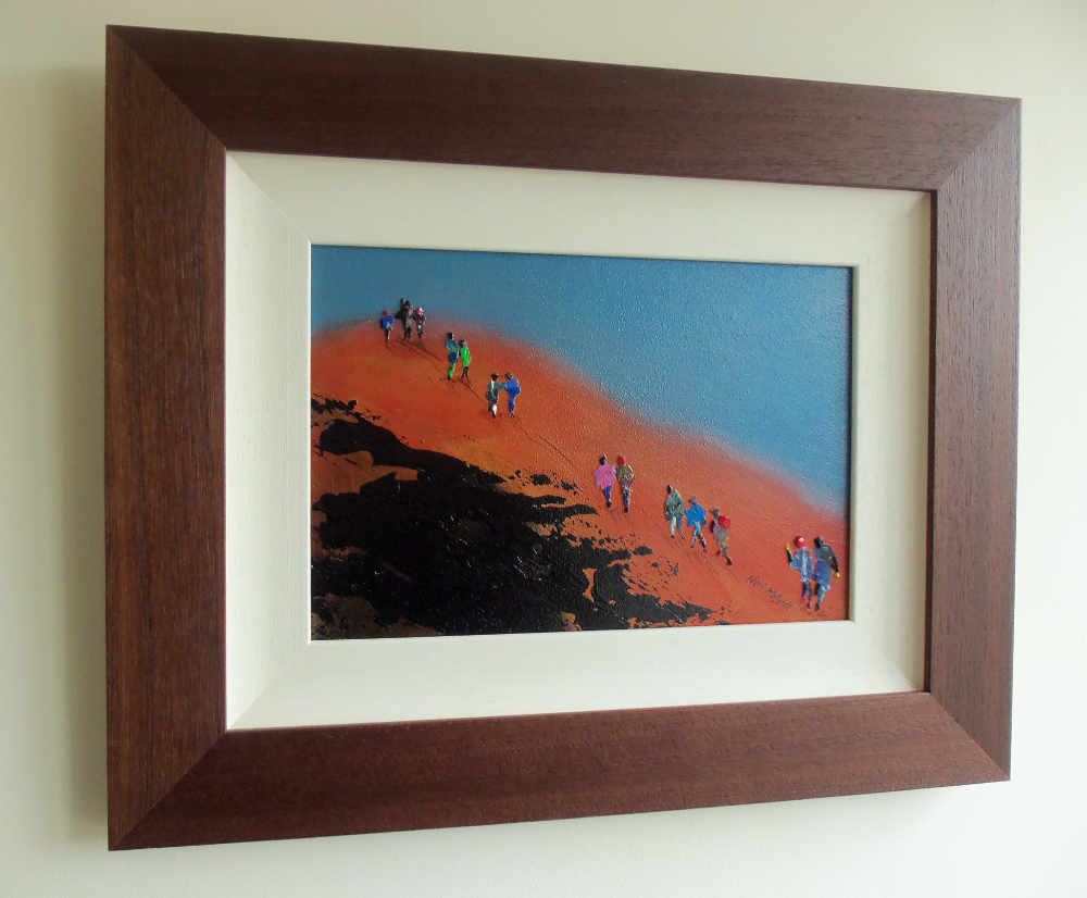 Hiking art UK - the final push to the summit in this framed original painting © Neil McBride 2020
