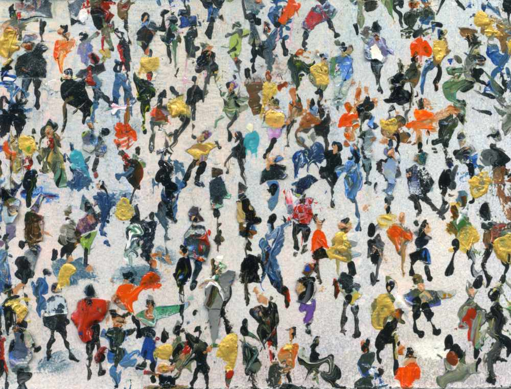 Small painting of Crowds titled Gold Mined © Neil McBride 2019