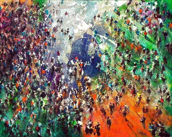 Healing Pond surrounded by crowd of people - original painting by British visual artist Neil McBride