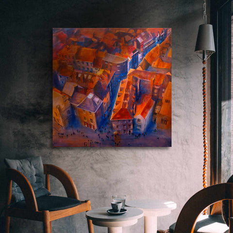 York painting of the Minster Yard in a lounge room by © Neil McBride 2019