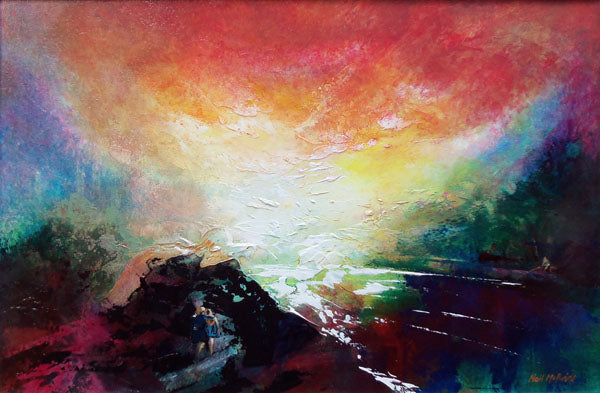 An original painting on board inspired by the works of JMW Turner by Yorkshire artist Neil McBride