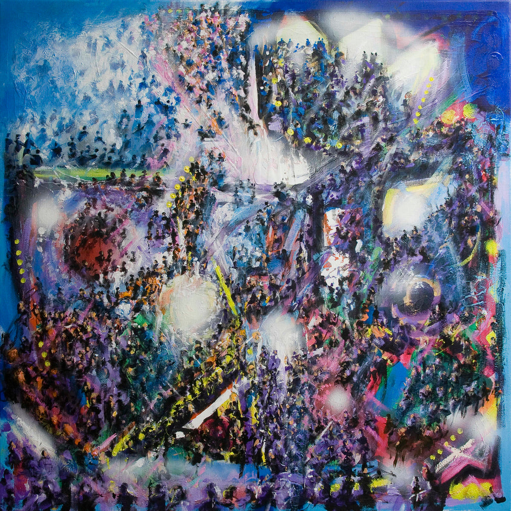 Rave is an expressive painting full of crowds of people at a massive musical event. © Neil McBride 2019