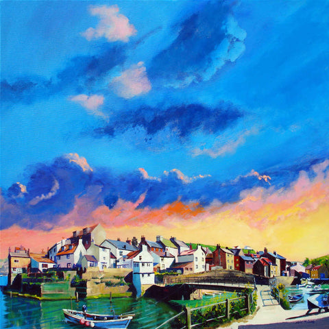 Staithes Sundown original painting on canvas