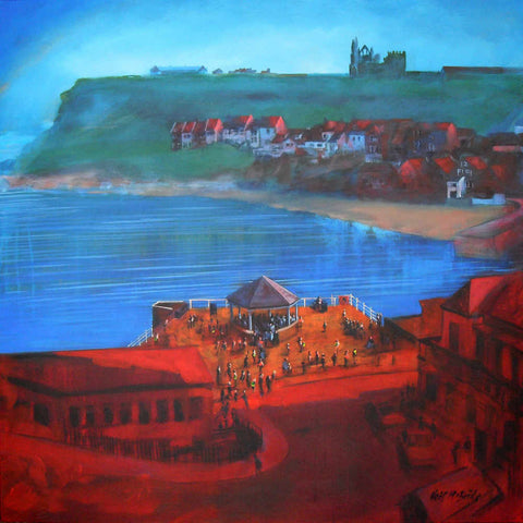 Whitby Bandstand and Smokehouses original painting on canvas