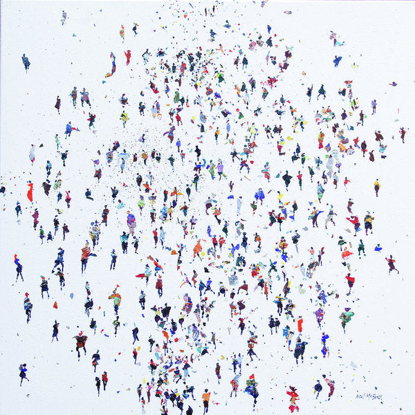 Migration of people in a crowd on white background.