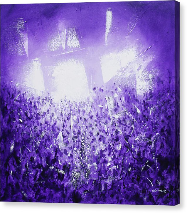 Purple Rave art crowd on canvas © Neil McBride 2019