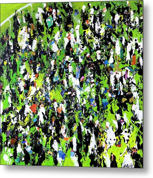 Race Meeting crowd Art print on aluminium metal by Yorkshire based British visual artist Neil Mcbride © Neil McBride 2019
