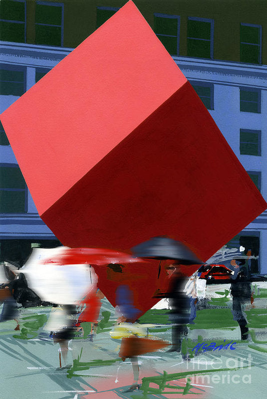 Red Cube sculpture by Isamu Nugochi reproduced by Neil McBride