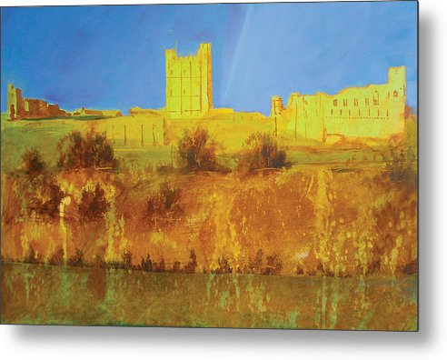 Richmond Castle In Gold - Metal Print
