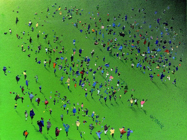 Paper Prints like this Sports Day crowd of people artwork are reproduced as art prints on paper © Neil McBride 2019