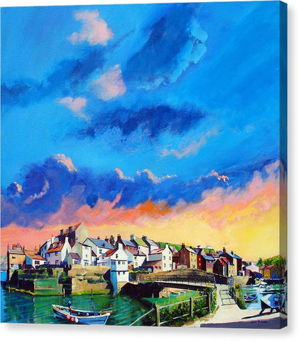 Staithes At Sundown - Canvas Print