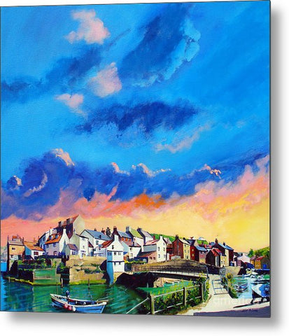 Staithes At Sundown - Metal Print