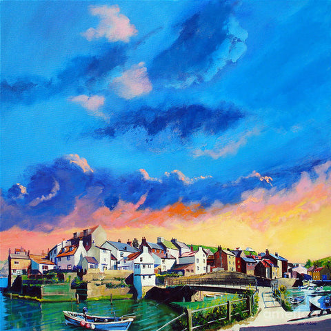 Staithes At Sundown - Paper Print