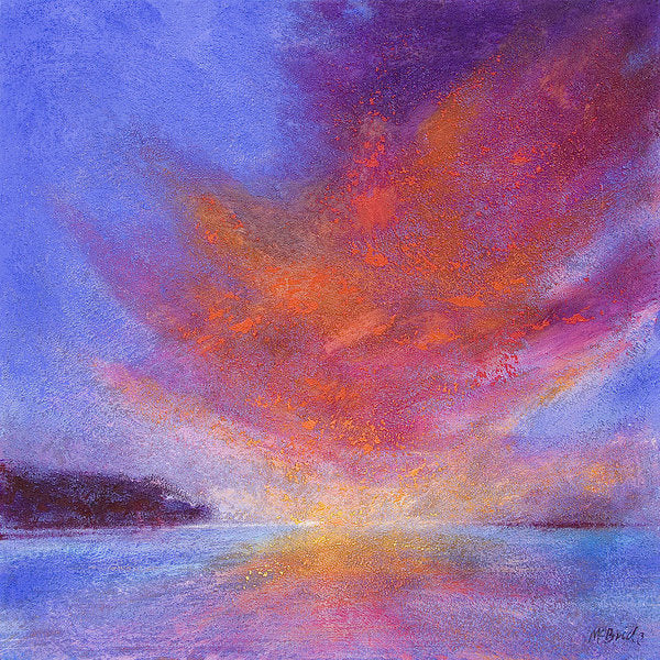 This Sunset landscape art on paper is a feast of colour and texture. © Neil McBride 2019