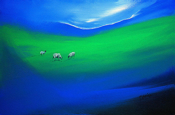 Sheep art prints titled The Grass is Greener from an original painting © Neil McBride 2018