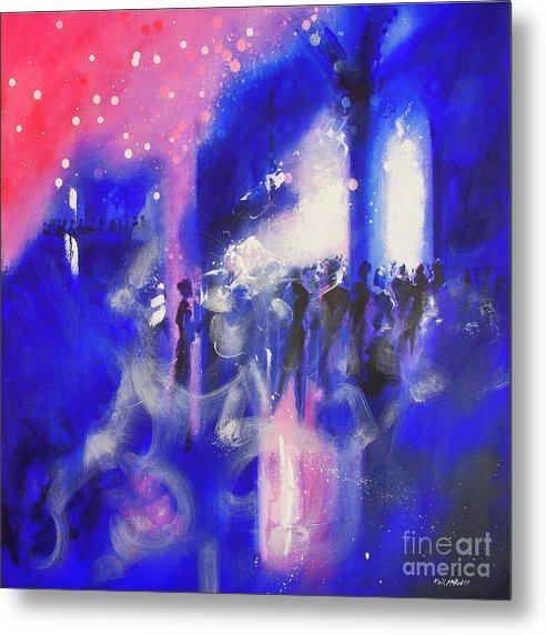 The Party is a pink and blue metal print from an original painting of a party in a gothic interior © Neil McBride 2019
