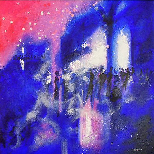 Pink and blue wall art, The Party, reproduced on paper prints from an original painting of a party in a gothic interior © Neil McBride 2019
