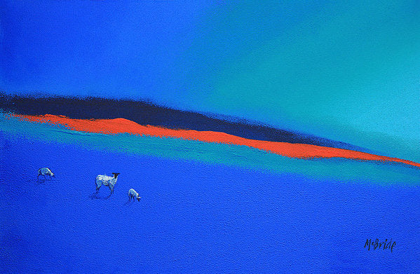 Sheep art prints titled Three Blues and a Red from an original painting © Neil McBride 2018