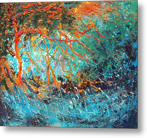Unbridled Passion is an impressionist style landscape of contrasting orange and blue colours captured on metal prints. © Neil McBride 2019