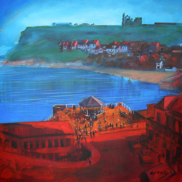 Whitby art prints on paper like this one of Whitby bandstand and smokehouses are very popular. © Neil McBride 2019