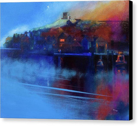 Whitby Moon and Mist - Canvas Print
