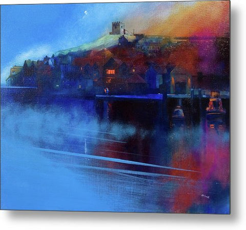 Whitby Moon and Mist - Metal Print