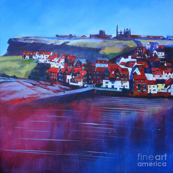 Whitby Smokehouses in the old town beyond the harbour with Whitby Abbey in the distance. Art Prints © Neil McBride 2019