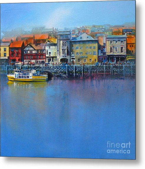 Whitby St Anne's Staith art seen from the harbour reproduced on a Metal Print © Neil McBride 2019