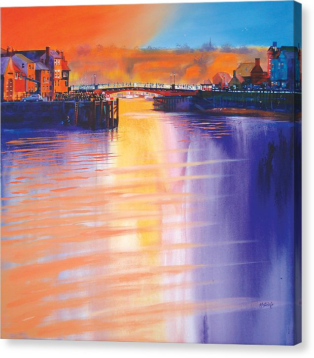 Whitby prints, like this one of the Swing Bridge, are for sale on canvas by Yorkshire artist Neil McBride