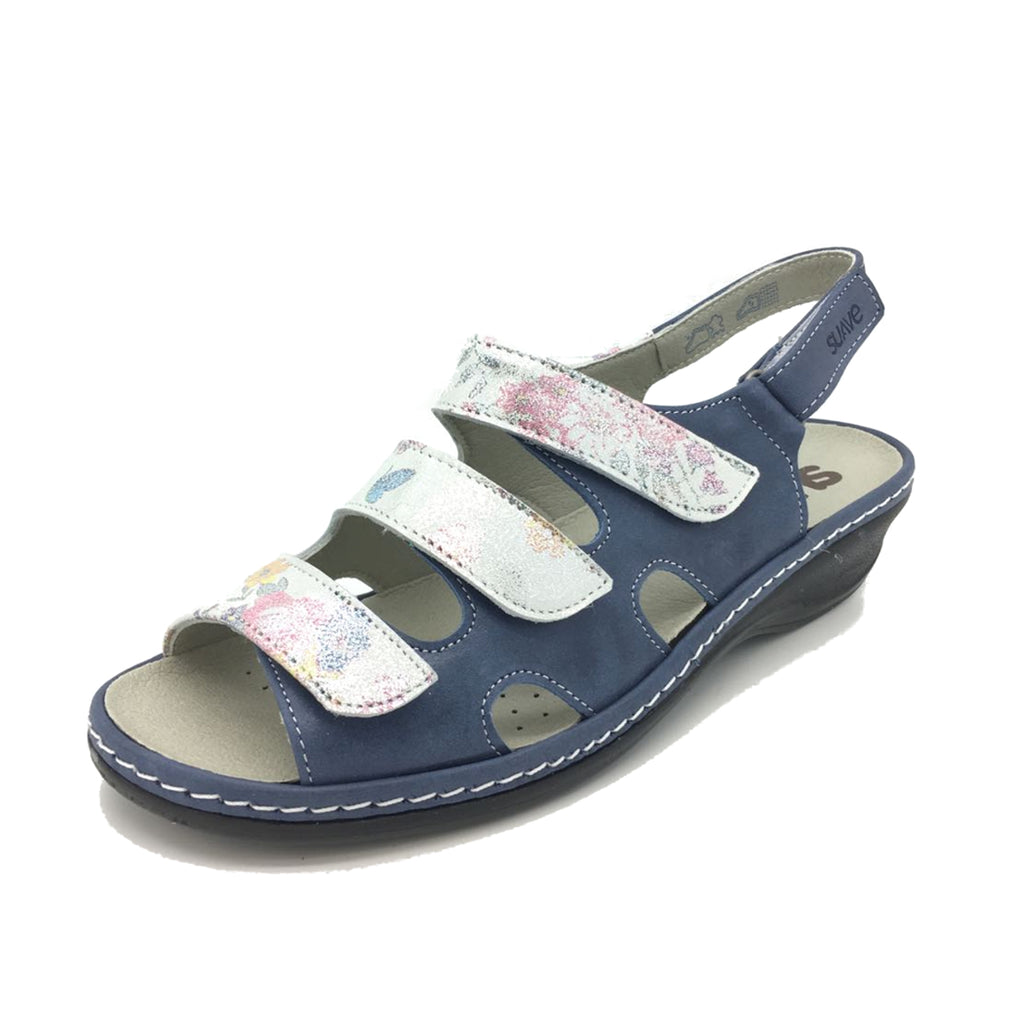 Hazel - Royal/Floral Leather Sandal