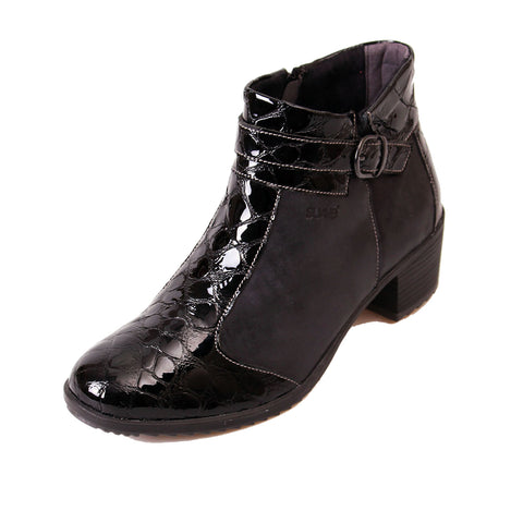Amber - Black/Patent Croc Leather Boot