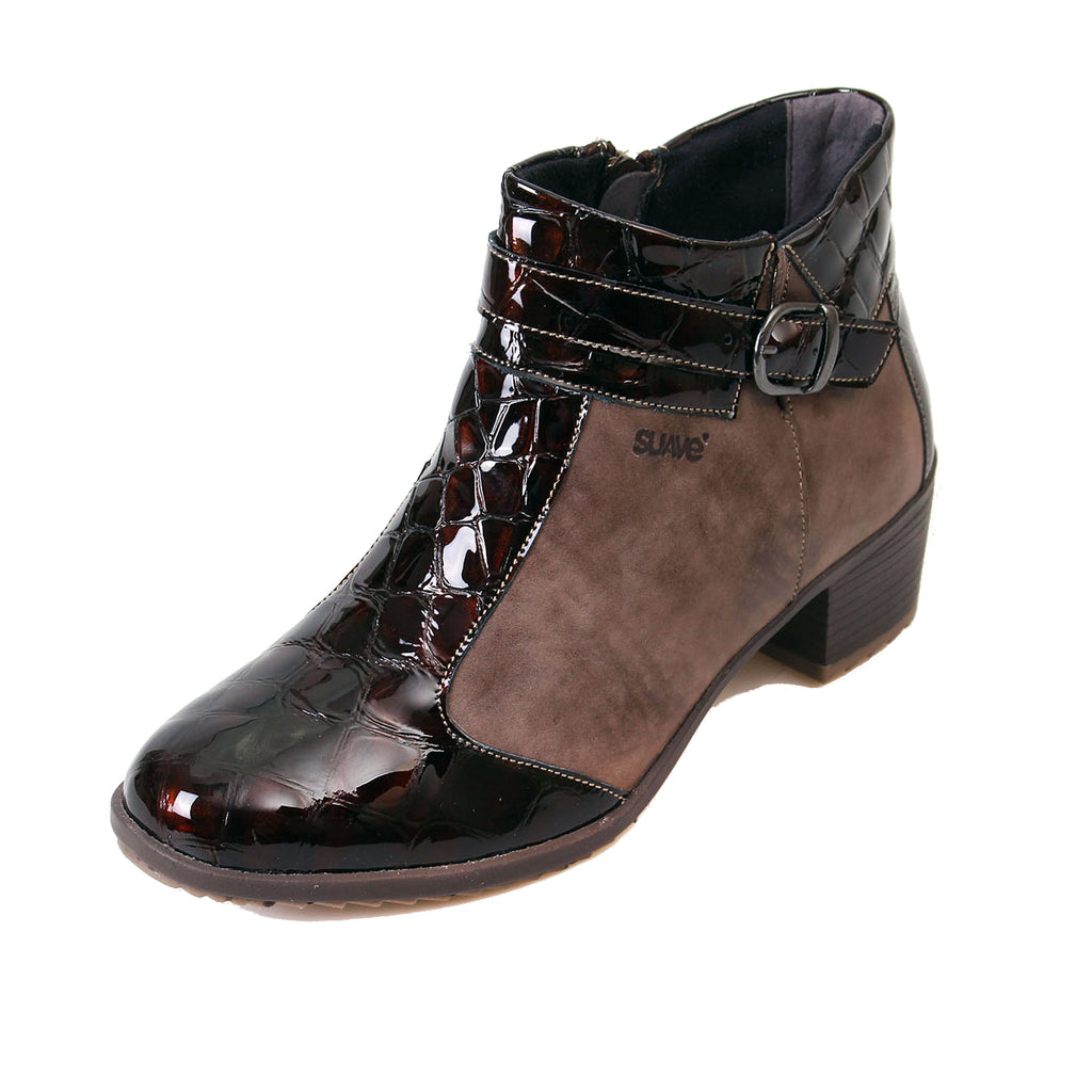 Amber - Coffee/Patent Croc Leather Boot