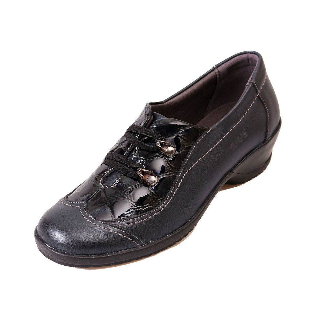 Demi - Navy Patent Croc Leather Shoe