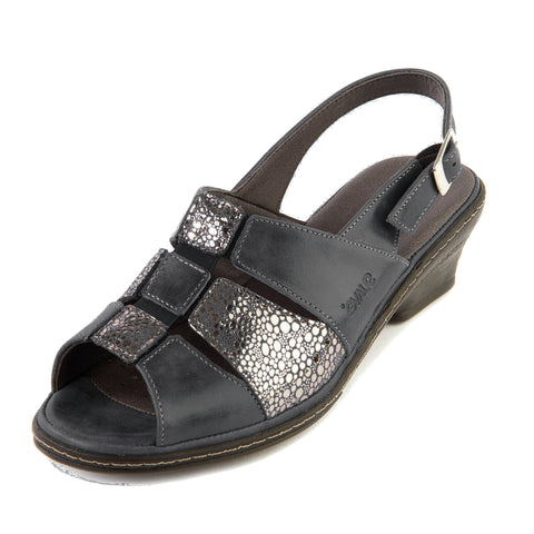Ebony - Black/Shimmer Leather Sandal
