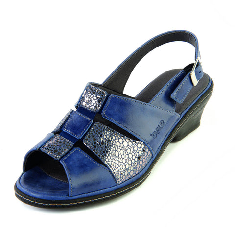 Ebony - Royal/Shimmer Leather Sandal