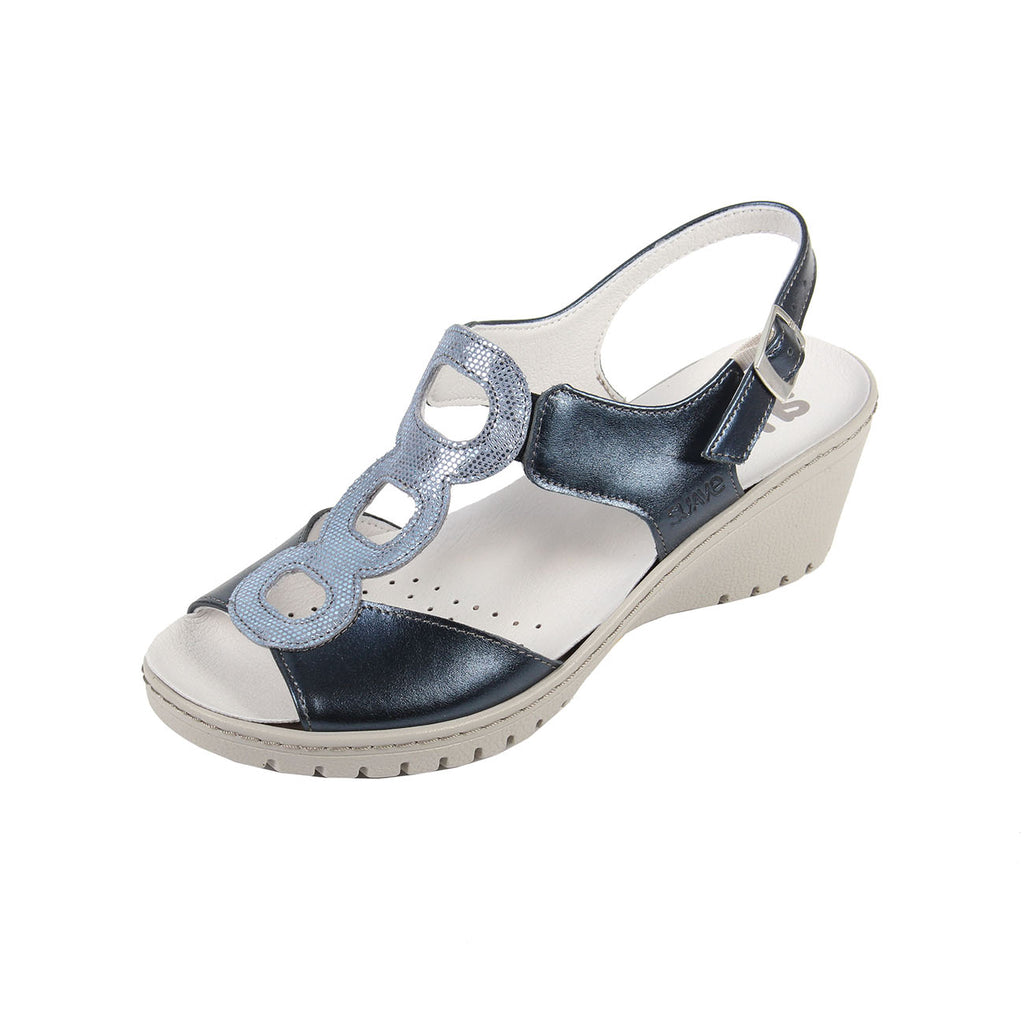Fawn - Navy / Print Leather Sandal